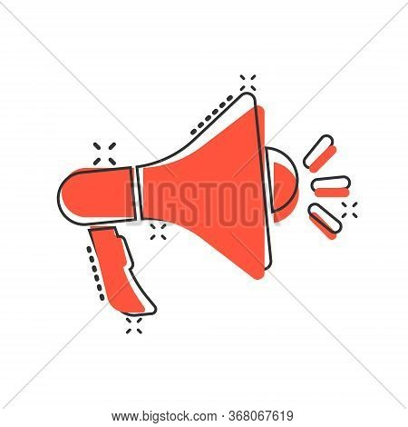 Megaphone Speaker Icon In Comic Style. Bullhorn Sign Cartoon Vector Illustration On White Isolated B