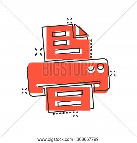 Office Printer Icon In Comic Style. Fax Cartoon Vector Illustration On White Isolated Background. Te