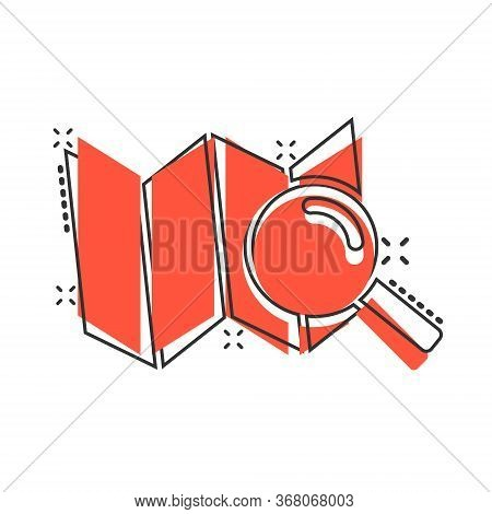Search Location Icon In Comic Style. Gps Navigation Cartoon Vector Illustration On White Isolated Ba