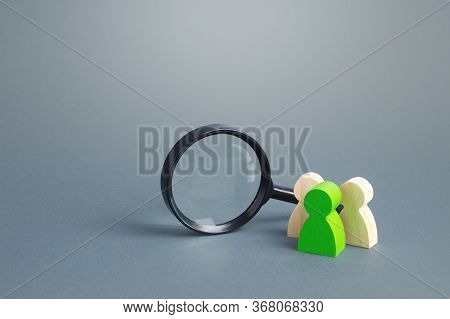 Figures Of People Stand Near A Magnifying Glass. Search For Jobs And Vacancies. Human Resources. Con