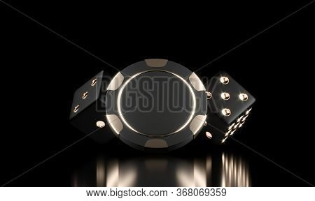 Casino Chips On Black. Casino Game 3d Chips And Dice. Online Casino Background Banner Or Casino Logo