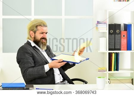 Ceo Has To Be Moral Leader Of Company. Man Bearded Boss Sit Office. Manager Solving Business Problem