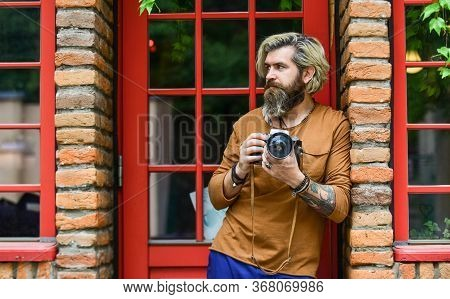 Will You Pose For Me. Photographer Hold Retro Camera. Journalist Is My Career. Reporter Make Photo.