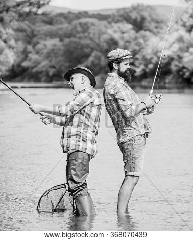 Generations. Summer Weekend. Mature Men Fisher. Male Friendship. Family Bonding. Hobby And Sport Act