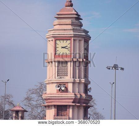 Famous Clock Tower Ar Garh Mukteshwar In Uttar Pradesh. This 221ft High Clock Tower Was Built In 188