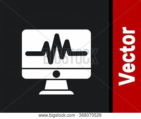 White Computer Monitor With Cardiogram Icon Isolated On Black Background. Monitoring Icon. Ecg Monit