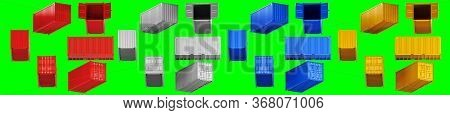A High Quality Image Of 20ft Shipping Containers On A Green Background With Clipping Path. Set Twent