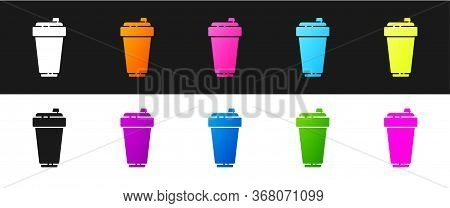Set Fitness Shaker Icon Isolated On Black And White Background. Sports Shaker Bottle With Lid For Wa