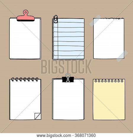 Set Of Cute Hand Drawn, Blank Paper Sticky Note Pad With Tape And Clip, Template, Text Box, Flat Des
