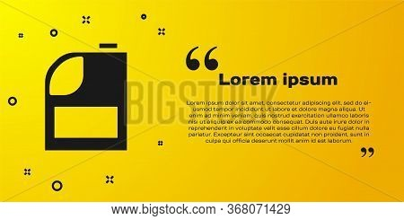Black Canister For Motor Machine Oil Icon Isolated On Yellow Background. Oil Gallon. Oil Change Serv