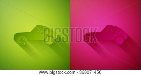Paper Cut Broken Car Icon Isolated On Green And Pink Background. Car Crush. Paper Art Style. Vector