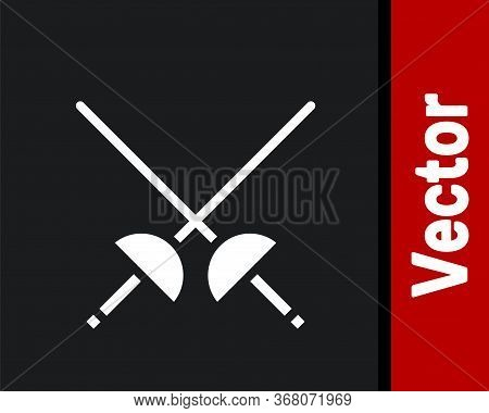 White Fencing Icon Isolated On Black Background. Sport Equipment. Vector Illustration