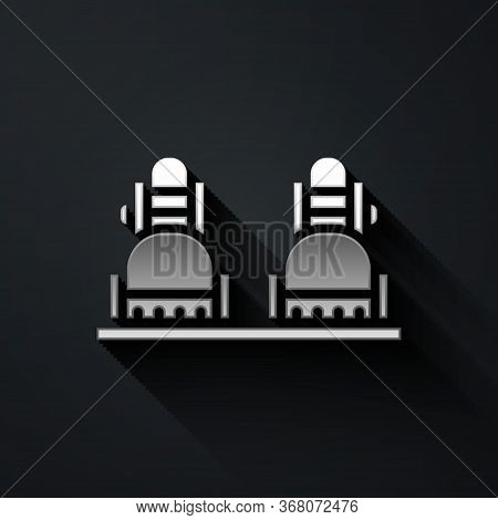 Silver Snowboard Icon Isolated On Black Background. Snowboarding Board Icon. Extreme Sport. Sport Eq