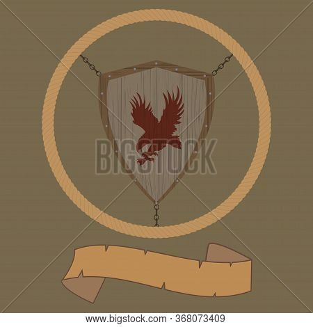 Illustration Of A Wooden Antique Medieval Shield With Red Eagle Silhouette Attached With Chains To A