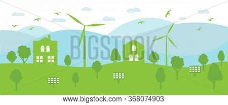 Ecological Town Concept And Environment Conservation. Renewable Energy With A Wind Generators And So