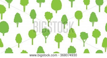 Seamless Pattern From Green Trees. Ecological Concept And Environment Conservation. Isolated On A Wh