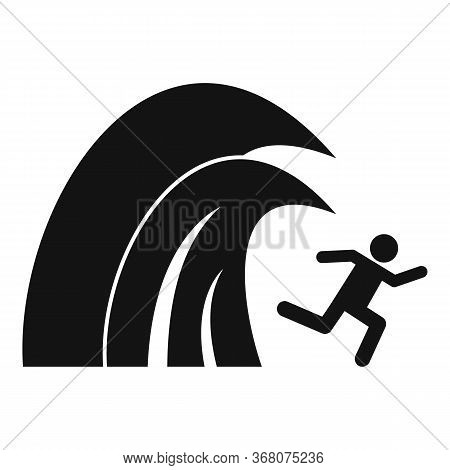 Surfing Tsunami Icon. Simple Illustration Of Surfing Tsunami Vector Icon For Web Design Isolated On