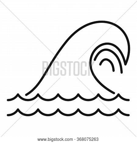 Tsunami Icon. Outline Tsunami Vector Icon For Web Design Isolated On White Background