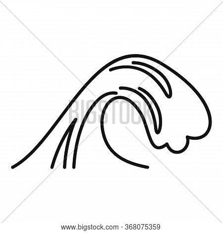 Warning Tsunami Icon. Outline Warning Tsunami Vector Icon For Web Design Isolated On White Backgroun
