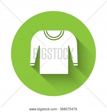 White Sweater Icon Isolated With Long Shadow. Pullover Icon. Green Circle Button. Vector Illustratio