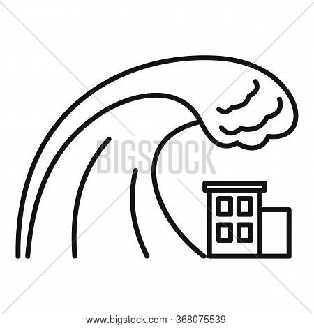 Danger Tsunami Icon. Outline Danger Tsunami Vector Icon For Web Design Isolated On White Background