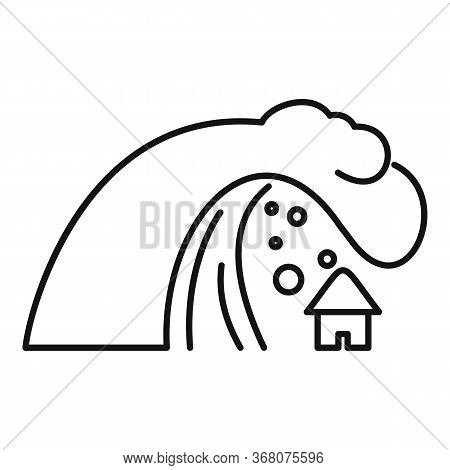 Earth Tsunami Icon. Outline Earth Tsunami Vector Icon For Web Design Isolated On White Background