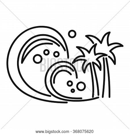 Seismic Tsunami Icon. Outline Seismic Tsunami Vector Icon For Web Design Isolated On White Backgroun
