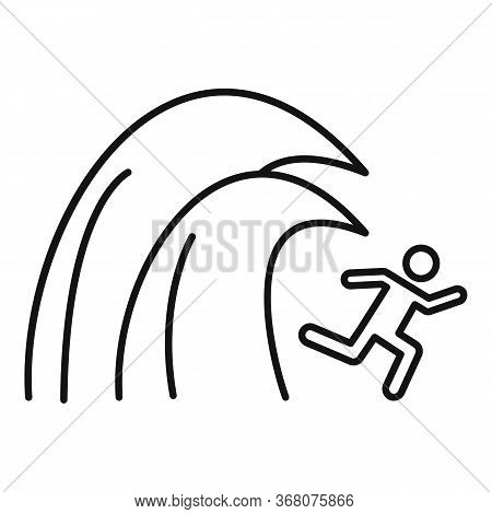 Surfing Tsunami Icon. Outline Surfing Tsunami Vector Icon For Web Design Isolated On White Backgroun