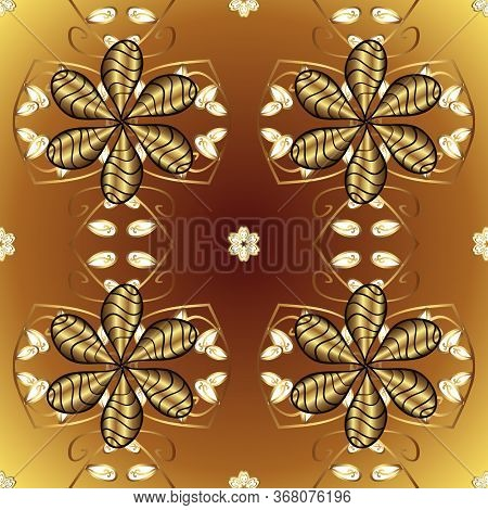 Seamless Classic Vector Golden Pattern. Classic Vintage Background. Golden Pattern On Brown And Yell