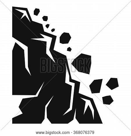 Falling Landslide Icon. Simple Illustration Of Falling Landslide Vector Icon For Web Design Isolated