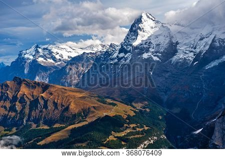 Scenic View Of The Eiger And The Monch, The Summits Of The Bernese Alps In Switzerland, Seen From La
