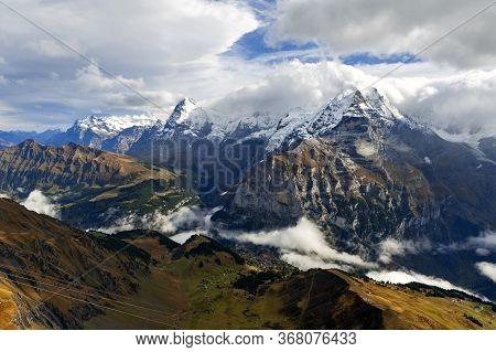 Scenic View Of The Jungfrau, One Of The Main Summits Of The Bernese Alps In Switzerland, Together Wi