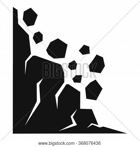 Stone Landslide Icon. Simple Illustration Of Stone Landslide Vector Icon For Web Design Isolated On