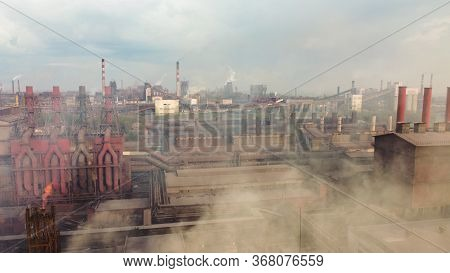 Panoramic View Of Heavy Industry With Detrimental Impact On Nature. Co2 Emissions, Toxic Poisonous G