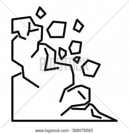 Mountain Landslide Icon. Outline Mountain Landslide Vector Icon For Web Design Isolated On White Bac