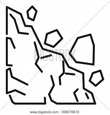 Risk Landslide Icon. Outline Risk Landslide Vector Icon For Web Design Isolated On White Background