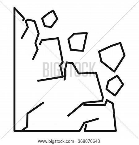 Rockfall Icon. Outline Rockfall Vector Icon For Web Design Isolated On White Background