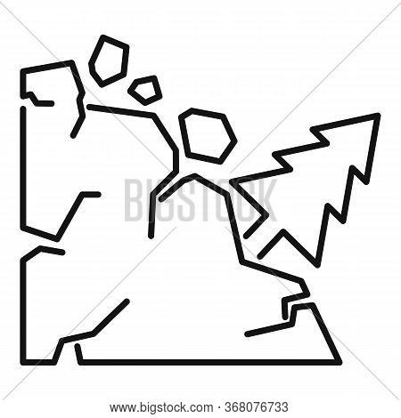 Disaster Landslide Icon. Outline Disaster Landslide Vector Icon For Web Design Isolated On White Bac