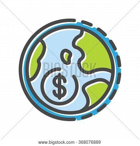 Dollar Sign On Globe Thin Line Icon, Logo Isolated On White Background. International Partnership, B