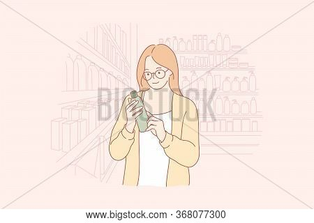 Shopping, Beauty, Eco Cosmetics Concept. Young Happy Woman Shop Assistant Or Buyer Cartoon Character