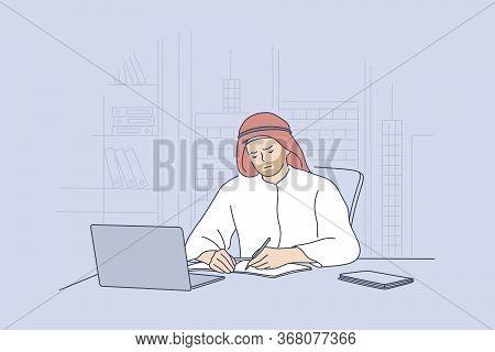 Arab Man Working In Office Concept. Sad Unhappy Arabic Businessman Muslim Clerk Manager Cartoon Char
