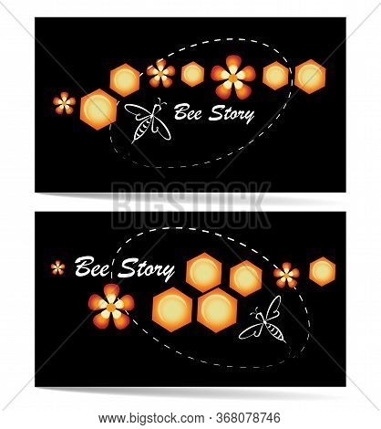 Bee Story. Honey Bee, Flowers And Honeycombs. Concept Set. Emblems, Labels. Linear Bee Icon.