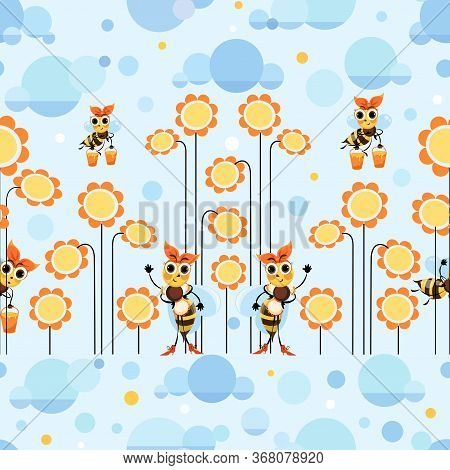 Bee Meadow. Swarm Bees Collects Honey. Background, Seamless Pattern With Cute Cartoon Characters. Ho