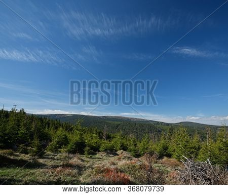 Forested Mountainous Landscape With Clouds On Blue Sky, Jeseniky Mountains, Czech Republic
