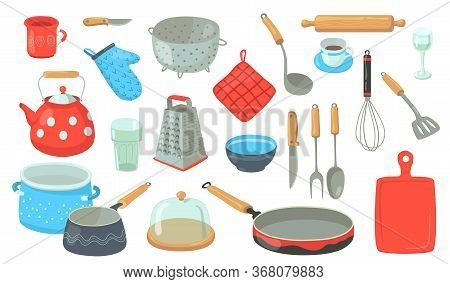 Kitchen Utensil Set. Tools And Accessories For Cooking, Baking, Frying. Whisk, Pot, Spoons, Cutlery,