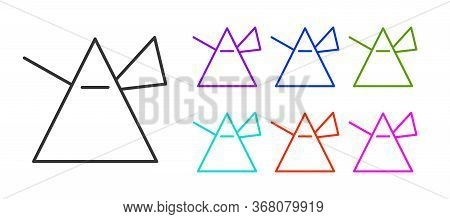 Black Line Light Rays In Prism Icon Isolated On White Background. Ray Rainbow Spectrum Dispersion Op