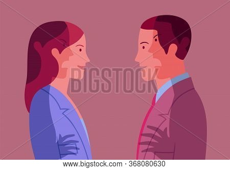 Conceptual Illustration Representing Young Smiling Woman And Man Who Pretend Harmony And Hide Mutual