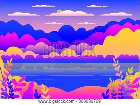 Hills And Mountains Landscape In Flat Style Design. Valley With Blue Lake Illustration. Beautiful Ye