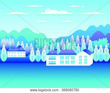 Rural Or Urban Landscape Outdoor. City Or Village In Flat Style Design. Countryside With Houses, Bui