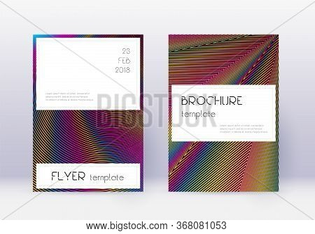 Stylish Cover Design Template Set. Rainbow Abstract Lines On Wine Red Background. Fine Cover Design.